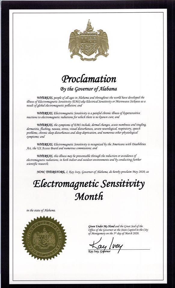 Alabama Governor issues proclamation recognizing electromagnetic sensitivity — May 2020, Smombie Gate | 5G | EMF