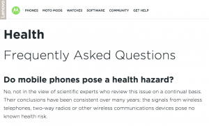"Motorola ""Health- Frequently Asked Questions"" Webpage"