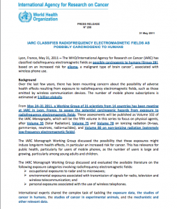 World Health Organization Press Release on Wireless Radiation