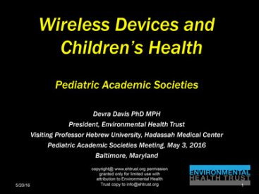 May 3, 2016: Wireless Devices and Children's Health, Pediatric Academic Societies