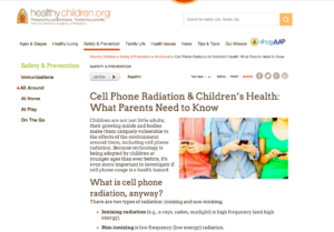 AAP recommends Reduce Exposure to Cell Phones